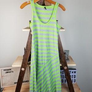 Gray Green Asymmetrical Maxi Sundress Sleeveless
